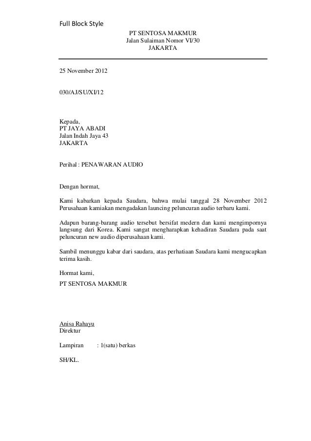 Contoh Bentuk Surat Full Block Style