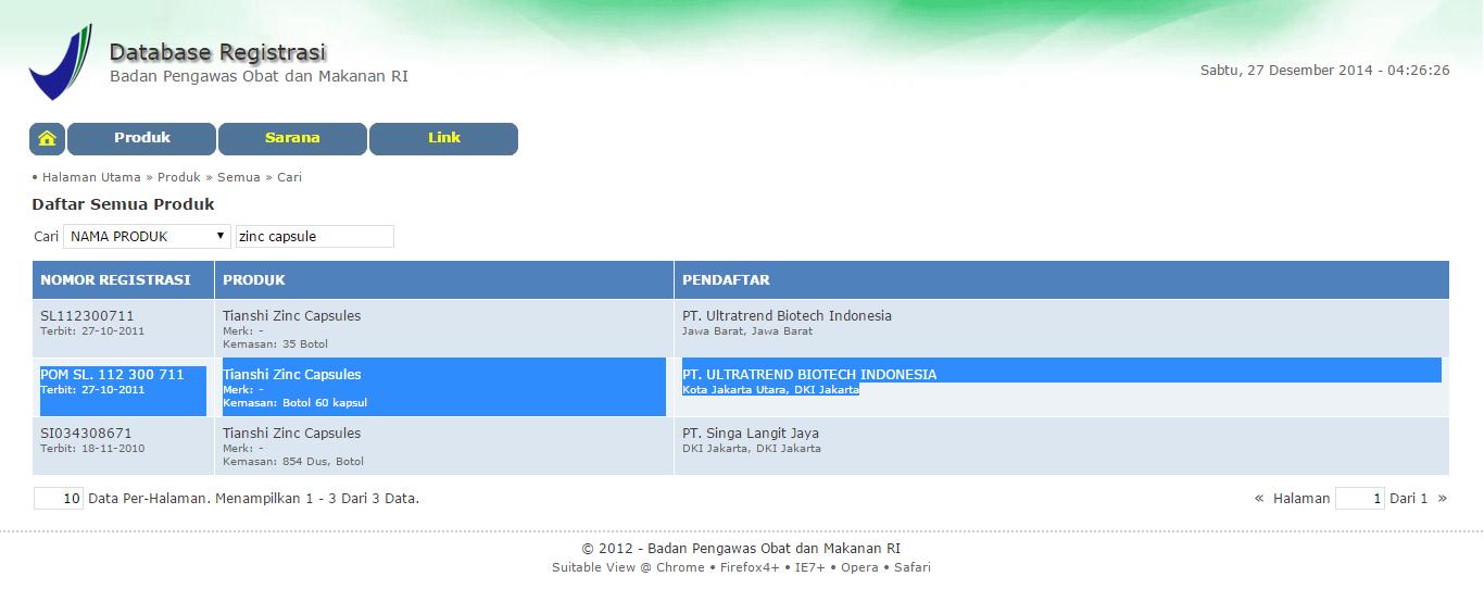 Nama Produk: Tianshi Zinc Capsules No Registrasi BPOM: POMSL. 112 300 711 Pendaftar PT. Ultratrend Biotech Indonesia