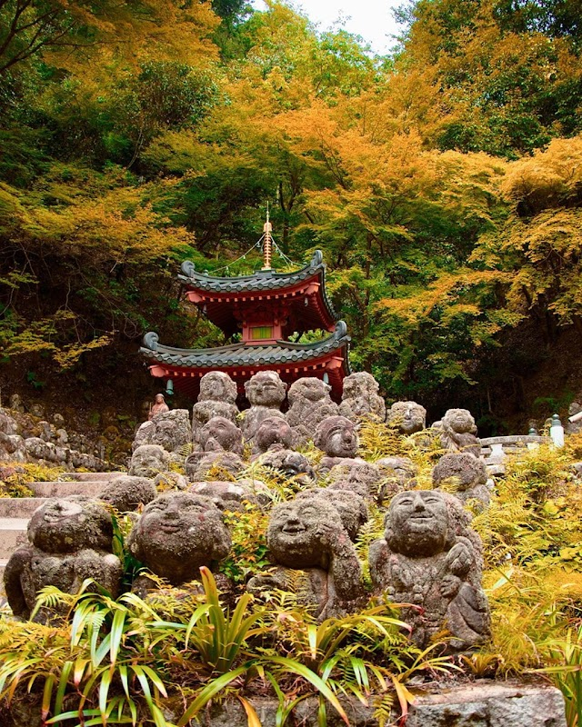 1,200 stone statues representing every aspect of life in Japanese temple