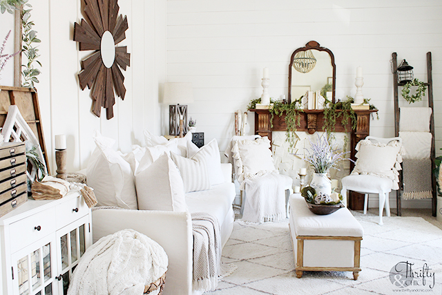 Farmhouse spring decor. Spring decorating ideas for the home. Easy spring decor. Living room spring decor. Modern farmhouse living room. Spring mantel. Floor to ceiling board and batten diy. Shiplap and board and batten ideas.