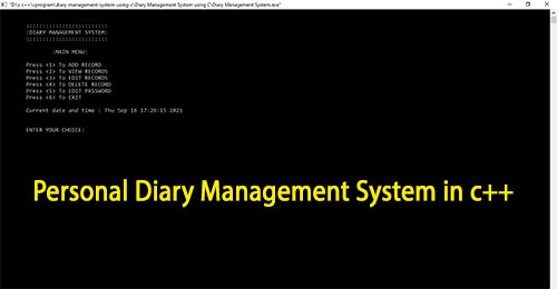 Personal Diary Management System in c++