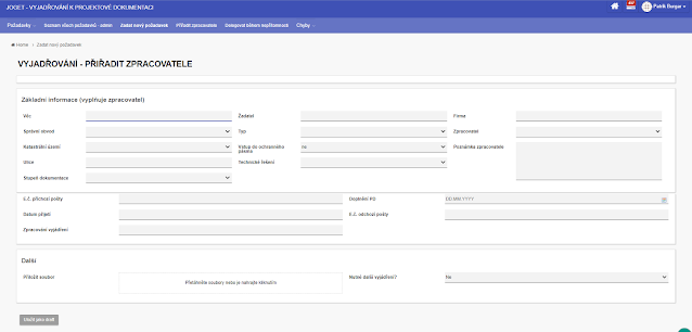 Dynamic form for creating a new request