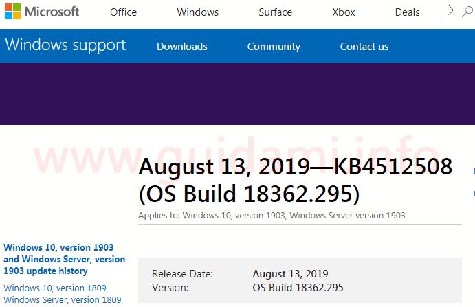 Microsoft Windows Support sito web note di rilascio aggiornamento cumulativo KB4512508
