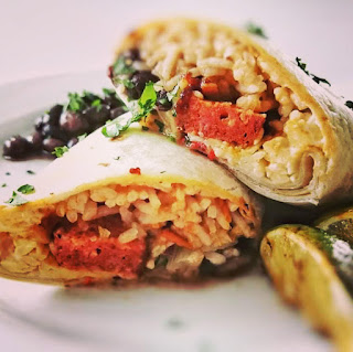 Sticky chorizo burritos