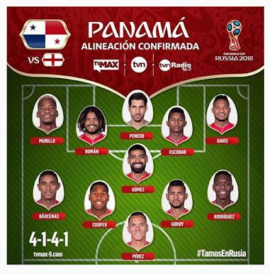 Alineación de Panamá partido contra Inglaterra Rusia 2018