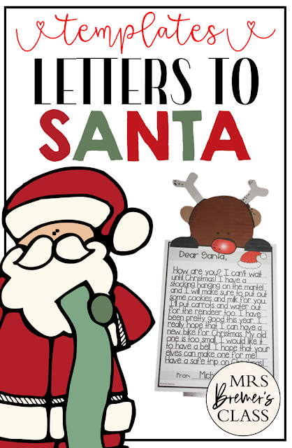 Letters to Santa craftivity templates with page toppers for Kindergarten, First Grade, and Second Grade