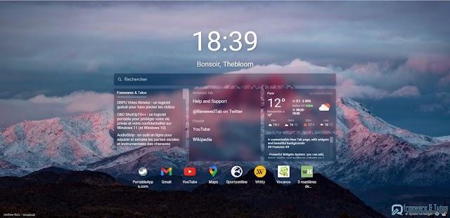 Renewed Tab : une extension (Chrome, Firefox) pour personnaliser sa page de nouvel onglet