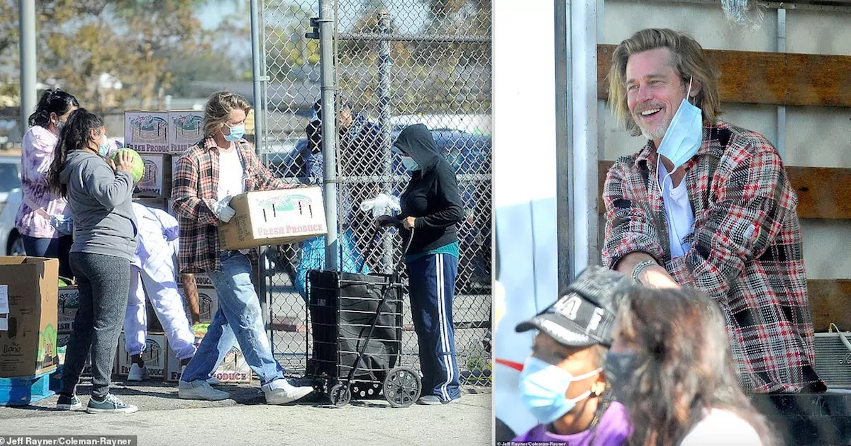 Brad Pitt Is Seen Spending Hours Delivering Grocery Boxes To Low-Income Families In South Central LA