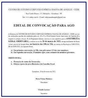 EDITAL DE CONVOCAÇÃO - AGO/2021 - 26/03/2021