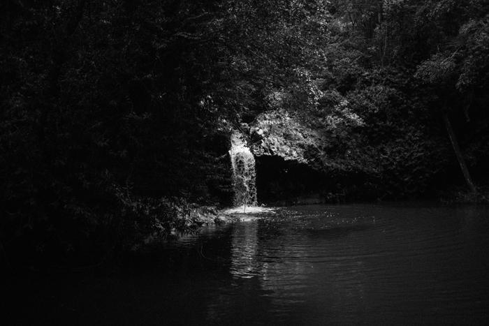 b&w waterfall