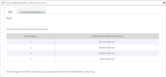 harga paket roaming keluar negeri xl