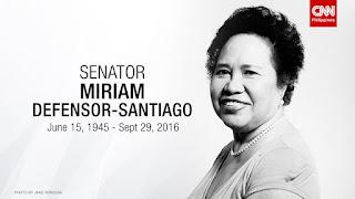 Senator Miriam Santiago dead, RIP Miriam