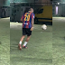 Music star, Davido Showcases his Football Skills as he goes balling with Barcelona Jersey (WATCH VIDEO)