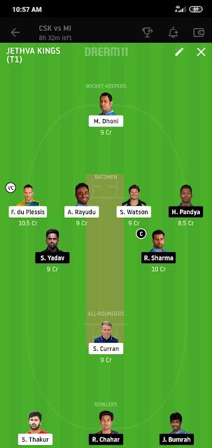 CSK VS MI Dream 11 Match 41 23 Oct 100% The Dream Team Winning IPL 2020