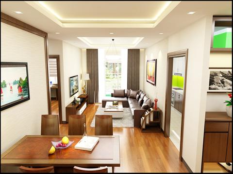 Phòng khách và phòng ăn chung cư ECO LAKE VIEW
