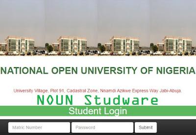 NOUN Studware student Login Page
