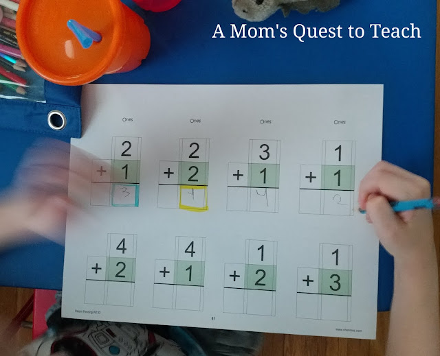 Addition worksheet from Neat Numbers