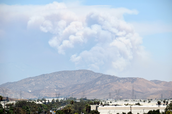 A snapshot of the Apple Fire in Riverside County...as seen from a parking structure in Ontario, California, on August 1, 2020.