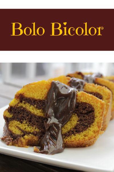 Receita de bolo bicolor de chocolate e branco