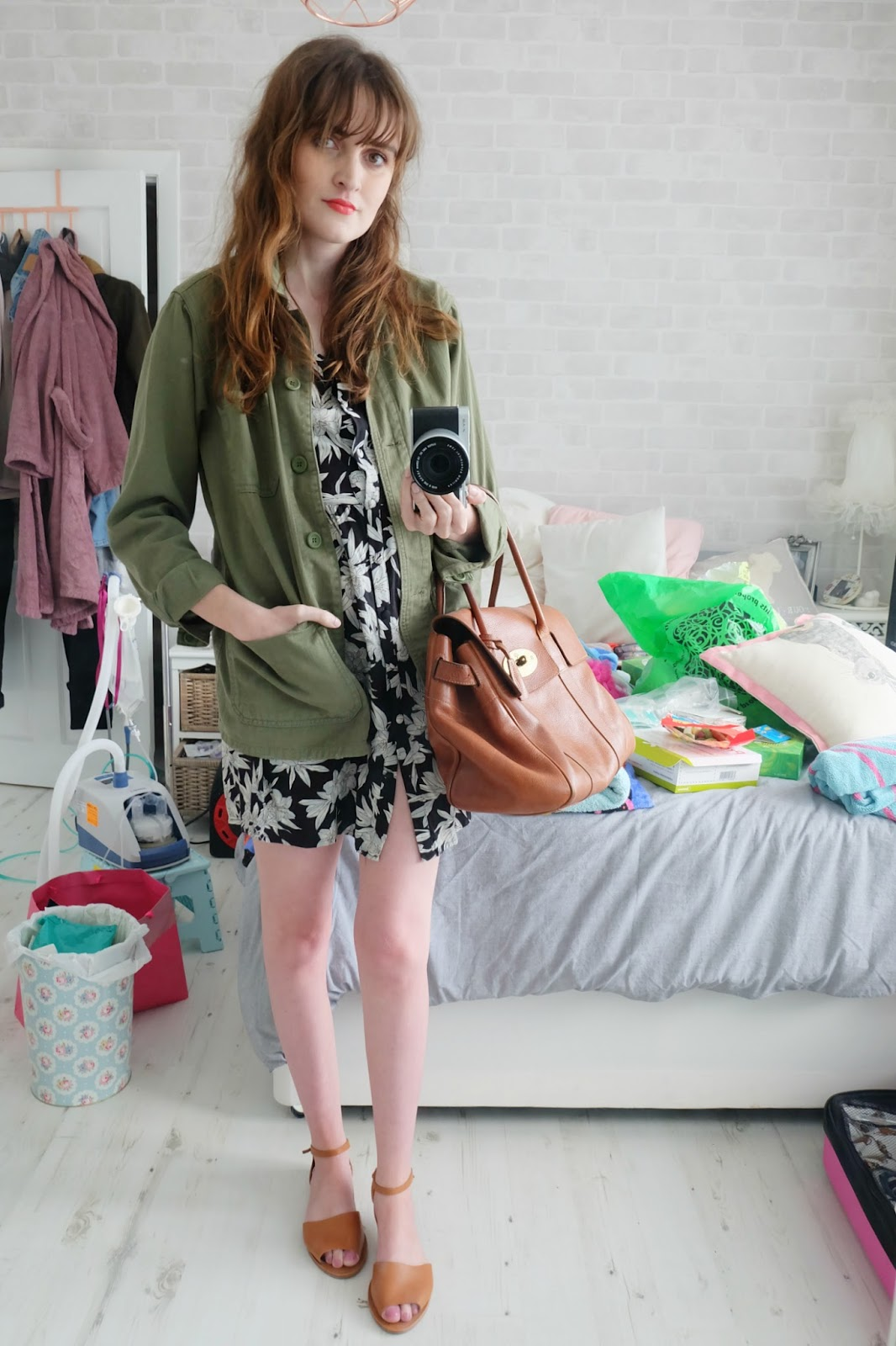 topshop green shacket, mulberry bayswater bag