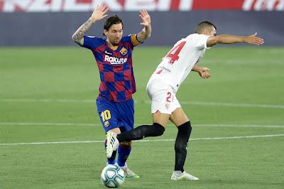 شاهد ملخص مباراة برشلونة ضد إشبيليه (0-0) بالدوري الاسباني