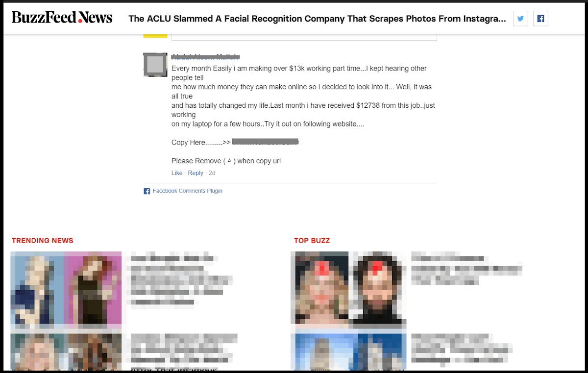 Facebook's plugin that lets users leave comments with their accounts on other websites and blogs is overrun with spam and scam links