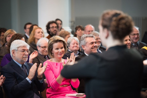 Queen Mathilde of Belgium meets with students during a visit to the Higher Institute of Music and Pedagogy