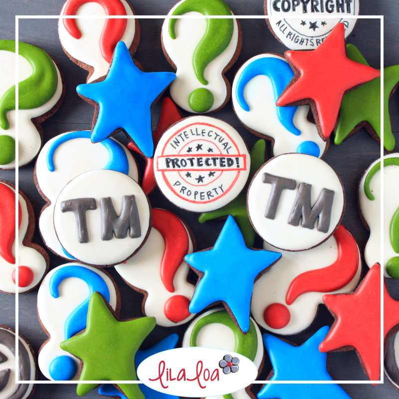 trademark images on decorated chocolate sugar cookies