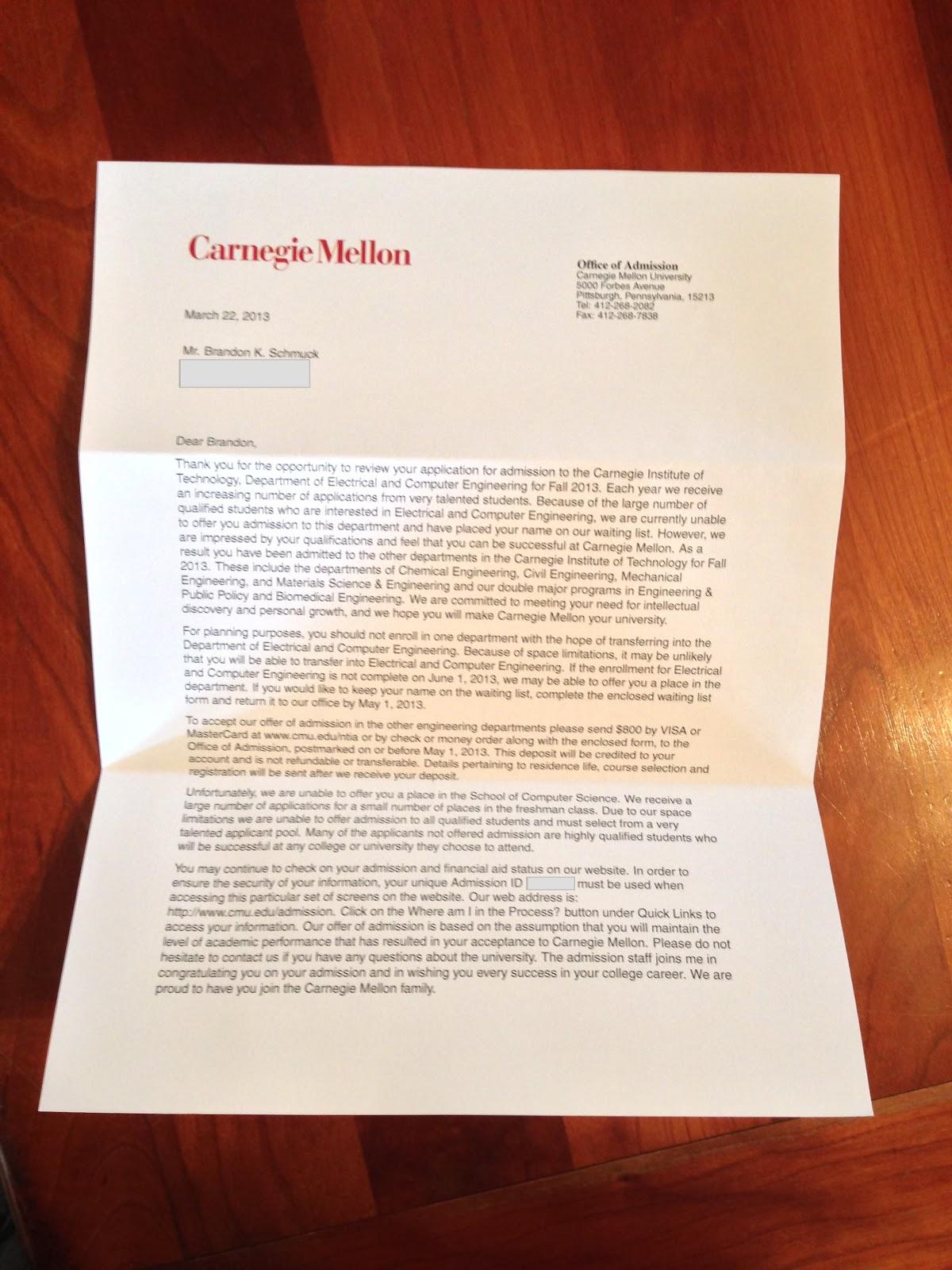carnegie mellon acceptance letters robotics my acceptance into the carnegie mellon class of 2017 brandon s