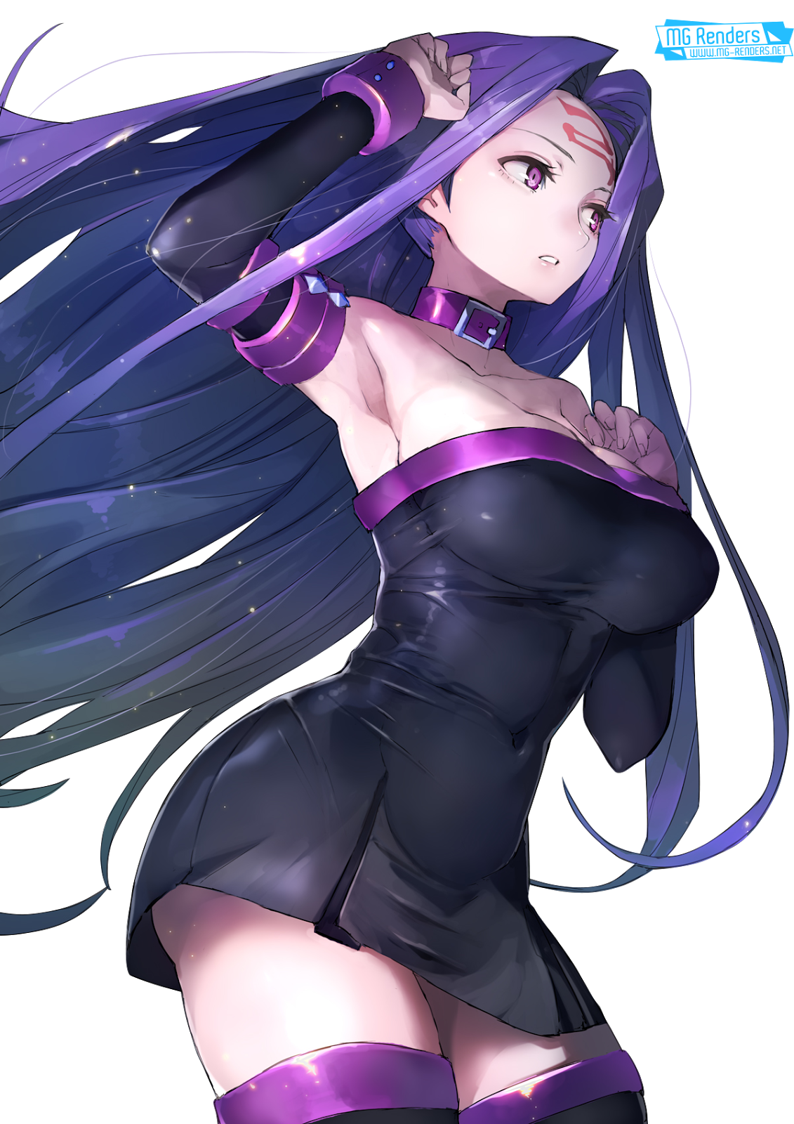 Tags: Anime, Render,  Armpit,  Arms up,  Bare shoulders,  Dress,  Fate stay night,  Huge Breasts,  Medusa,  Rider,  PNG, Image, Picture