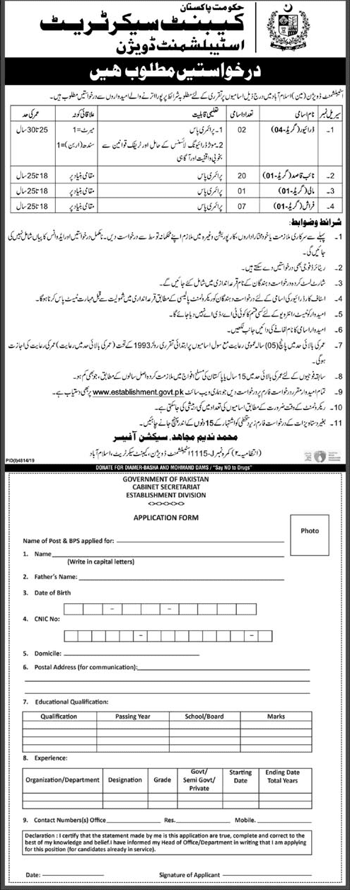 Jobs in Cabinet Division Govt of Pakistan 2020