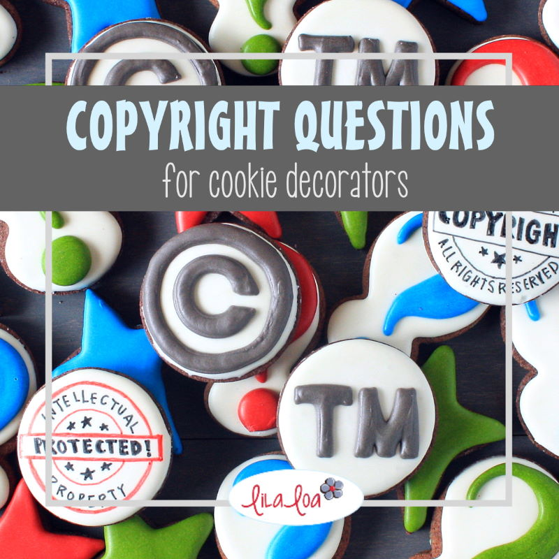 copyright and trademark images on chocolate decorated sugar cookies