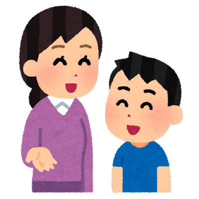 会話をする親子のイラスト(お母さんと息子)