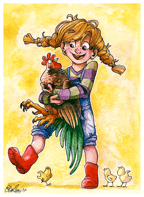 5x7inch watercolour painting of girl with rooster