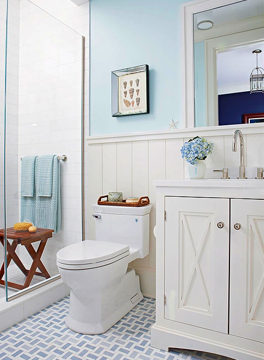 Pastel Blue Painted Coastal Bathroom