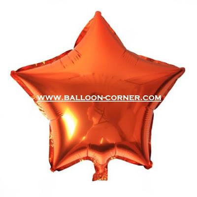 Balon Foil Bintang Warna Oranye (Orange)