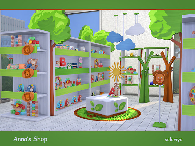 Sims 4, для Sims 4, наборы для Sims 4, декор для Sims 4, объекты для Sims 4, торговый декор для Sims 4, оформление магазина для Sims 4, магазин для Sims 4, торговля для Sims 4, торговое оборудование для Sims 4, торговый инвентарь для Sims 4, товары для магазина для Sims 4, торговый павильон для Sims 4, супермаркет для Sims 4, прилавки для Sims 4, торговый центр Sims 4, оформление магазина для Sims 4, бизнес для Sims 4,, торговые точки для Sims 4,Anna's Shop Магазин игрушек Анны для The Sims 4 Набор мебели для детского магазина. Включает в себя 10 объектов, имеет 3 цветовые палитры. Предметы в наборе: - три прилавка - постамент - деко дерево - вешалка - две этажерки - висящие облака - коврик
