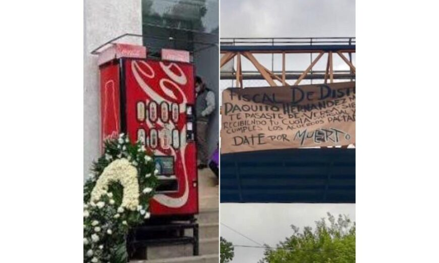 Colegas hacen broma y asustan con Narcomantas y Corona de Flores a Fiscal en Veracruz