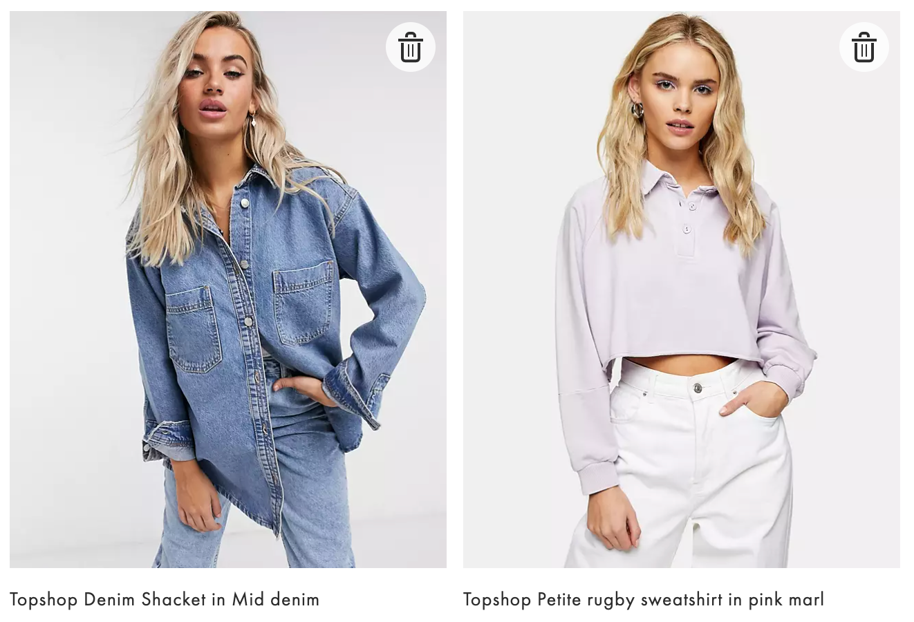 Topshop Denim Shacket in Mid denim https://www.asos.com/topshop-petite/topshop-petite-rugby-sweatshirt-in-pink-marl/prd/23993028?CTARef=Saved+Items+Image