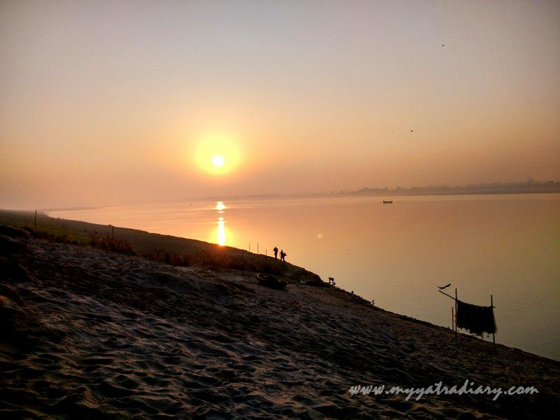 Sunrise peace by the river Ganga, Varanasi
