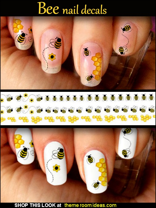 Bee Nail Decals Winnie the pooh bee hive nails bumblebee nails