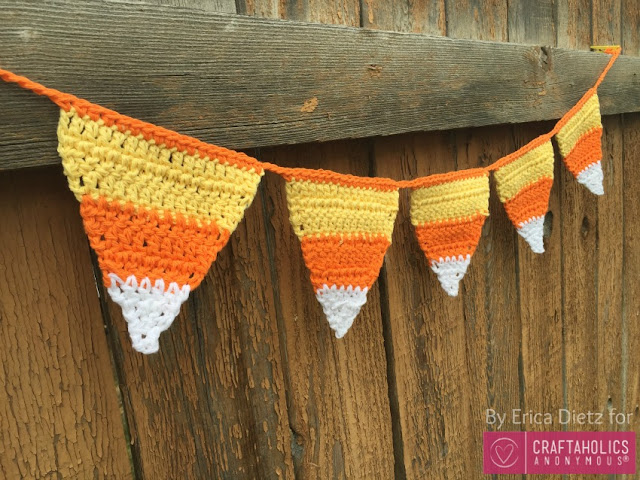 Crocheted Candy Corn Bunting Free Pattern Halloween Decor