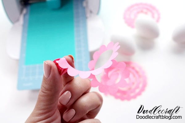 rolling paper flowers for easter egg decorations using the cricut joy