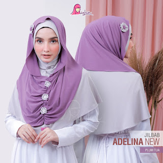 Jilbab Cantik Instan Adelina New plum tua