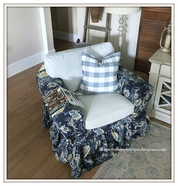 Living -room -Furniture & Decor-French-Country-Farmhouse-Ballad Bouquet-Slipcover-Chair-Ektorp-Blue & White Decor- From My Front Porch To Yours