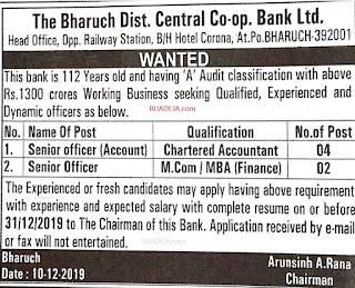 Bharuch District Bank Ltd. Jobs 2019