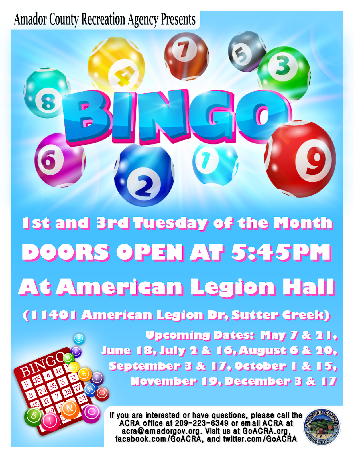 ACRA Bingo - Tues Aug 20