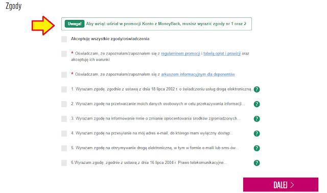 """Wymagane zgody we wniosku o Konto Optymalne w promocji """"Konto z Money Back"""" w BGŻ BNP Paribas"""