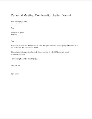 Personal Meeting confirmation letter format