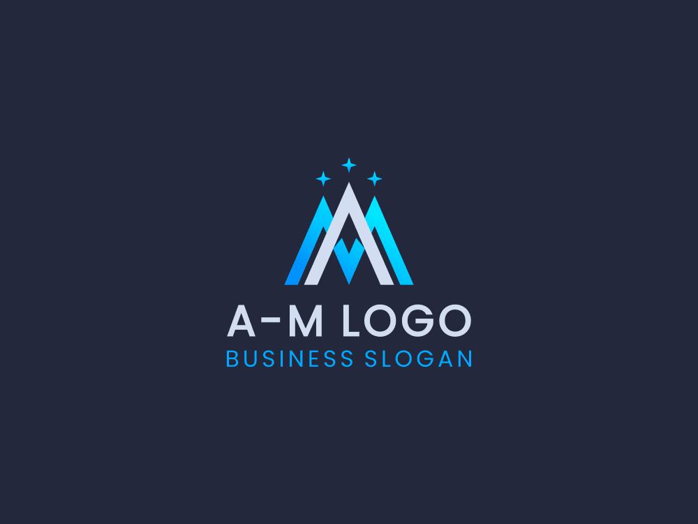 Free logo mountain peak on dark blue background
